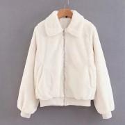 Fur collar lapel coat zipper coat loose - Jacket - coats - $39.99