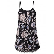 Furnex Womens Casual Pleated Chiffon Layered Cami Patchwork Lace Tank Tunic - Camisa - curtas - $44.99  ~ 38.64€