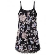 Furnex Womens Casual Pleated Chiffon Layered Cami Patchwork Lace Tank Tunic - Shirts - $44.99