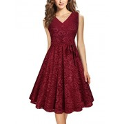 Furnex Women's Elegant A Line V Neck Floral Sleeveless Knee Length Swing Lace Dress - Dresses - $14.99