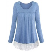 Furnex Women's Long Sleeve Lace Casual Tunic Tops - Camisa - curtas - $38.99  ~ 33.49€