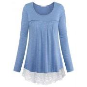 Furnex Women's Long Sleeve Lace Casual Tunic Tops - Shirts - $38.99