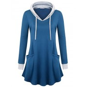 Furnex Women's Long Sleeve Tunic Shirts Color Block Thin Pullover Hooded Sweatshirt with Pockets - Shirts - $38.99