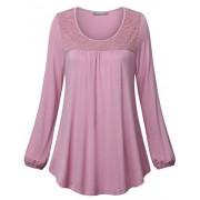 Furnex Women's Long Sleeve Tunics Shirt Lace Casual Blouses Tops - Shirts - $25.99