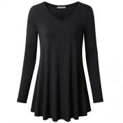 Furnex Women's Long Sleeve V Neck Shirts Loose Fit Swing Tunic Tops - Shirts - $26.99