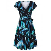 Furnex Women's Summer V Neck Floral Casual Midi Dress with Belt - Dresses - $49.99