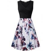 Furnex Women's Vintage V Neck Floral Casual Midi Dress with Pockets - Dresses - $39.99