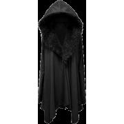 Furry Black Hooded Sweater - Jacket - coats -