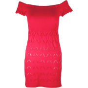 Fushia Seamless Dress Cut Out Bottom Pattern Ribbed Top - Dresses - $10.90