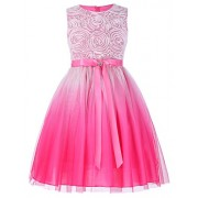 GRACE KARIN Girls Sleeveless Rose Princess Party Dresses With Ribbon - Dresses - $19.99