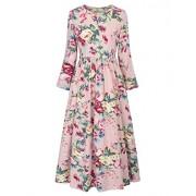 GRACE KARIN Kids Girls Floral Pattern Crew Neck Long Maxi A-Line Dress CL10658 - Dresses - $9.99