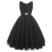 GRACE KARIN Lace Flower Girl Dress V Neck Girls Pageant Wedding Party Ball Gown - Dresses - $12.99