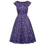 GRACE KARIN Vintage Shooting Stars Print Cap Sleeve Crew Neck A-Line Dress - Dresses - $17.99