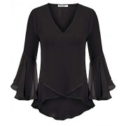 GRACE KARIN Women Chiffon Long Sleeve V Neck Irregular High Low Hem Blouse - Shirts - $20.99