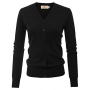 GRACE KARIN Women Essential Basic V-Neck Button Down Knit Cardigan Open Front Sweaters - Shirts - $16.99