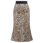 GRACE KARIN Women Leopared Printed High-Waisted Elastic Waist Straight Midi Skirts - Skirts - $14.99