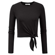 GRACE KARIN Women Loose Knot Tie Front Shirt Casual Round Neck Long Sleeve Tops - Shirts - $1.99