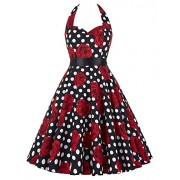 GRACE KARIN Women Vintage 1950s Halter Cocktail Party Swing Dress With Sash - Dresses - $23.99