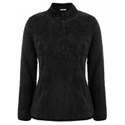 GRACE KARIN Women Warm Long Sleeve 1/4 Button Stand Fleece Pullover Sweatshirt with Pocket - Shirts - $35.99