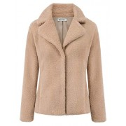 GRACE KARIN Women Winter Warm Lapel Coat Faux Fur Jacket Overcoat Outwear with Pocket - Outerwear - $38.99