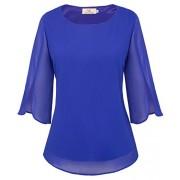 GRACE KARIN Women's Casual Chiffon Blouse Tops Half Ruffle Sleeve CLAF0015 - Shirts - $12.99