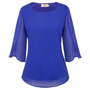 GRACE KARIN Women's Casual Chiffon Blouse Tops Half Ruffle Sleeve - Shirts - $23.99