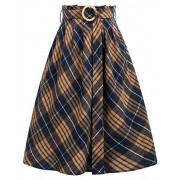 GRACE KARIN Women's Elastic Waist Vintage A-Line Pleated Flared Plaid Skirt - Skirts - $15.99