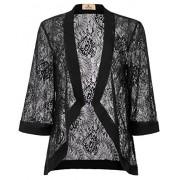 GRACE KARIN Women's Floral Lace Shrug Drape Open Front 3/4 Sleeve Bolero Cardigan - Shirts - $18.99
