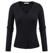 GRACE KARIN Women's Long Sleeve Button V-Neck Knit Bolero Shrug Cardigan Sweater - Shirts - $12.99