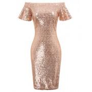 GRACE KARIN Women's Off Shoulder Sequin Bridesmaid Dress Evening Bodycon Dress - Dresses - $19.99