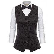 GRACE KARIN Womens Waistcoat Vintage Steampunk Dressy Jacquard Jacket - Shirts - $24.99