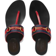 GUCCI BLUE LEATHER HORSEBIT THONG SANDAL - 外套 - $600.00  ~ ¥4,020.20