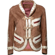 GUCCI BROWN SUEDE EMBROIDERED JACKET - 外套 - $4,430.99  ~ ¥29,689.12