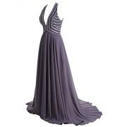 Gardenwed 2017 Women's Chiffon Long Prom Party Dresses V Neck Beaded Formal Dress - Dresses - $259.99