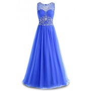 Gardenwed Gorgeous Bead Waist Long Prom Party Dress Scoop Tulle Formal Evening Gowns - Dresses - $259.99