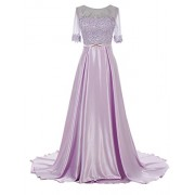 Gardenwed Long Beaded Lace Prom Dress Sweep Train Party Dress Half Sleeve Evening Dress - Vestiti - $209.00  ~ 179.51€