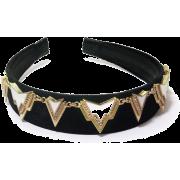Geometric Art Deco Edgy Velvet Headband - Hat - $92.50