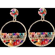 Geometric Round Natural Stone Handmade Rice Bead Earrings - 耳环 -