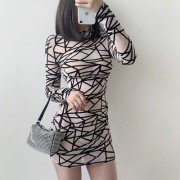 Geometric stitching mesh crew neck persp - Dresses - $19.99