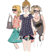 Girls (fashion sketch) - Illustrazioni -