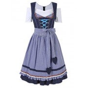GloryStar Women's German Dirndl Dress 3 Pieces Traditional Bavarian Oktoberfest Costumes for Halloween Carnival - Accessories - $29.99