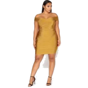 Gold cocktail dress - Dresses -