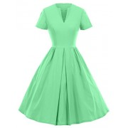 GownTown 1950s Vintage Dresses V-neck Short-sleeves Dresses Swing Stretchy Dresses, X-Small, Mint Green - Dresses - $19.99