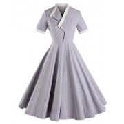 GownTown Striped Short Sleeve Dresses Swing Stretchy Dresses - Dresses - $38.98
