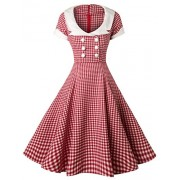 GownTown Women Splicing Swing Dress Party Picnic Cocktail Dress,Chequer&ivory,Medium - Dresses - $35.98