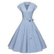 GownTown Women Vintage 1950s Retro Rockabilly Prom Dresses Cap-sleeve,Light Blue,Medium - Dresses - $34.98