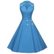GownTown Women Vintage 1950s Retro Rockabilly Prom Dresses Sleeveless - Dresses - $38.98