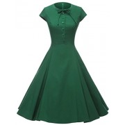 GownTown Women's 1950s Cap Sleeve Swing Vintage Party Dresses - Dresses - $26.98