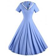 GownTown Women's 1950s Retro Vintage V-Neck Party Swing Dress - Dresses - $35.98