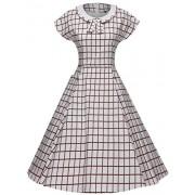 GownTown Women's 1950s Vintage Cap Sleeve Plaid Swing Dress Pockets - Dresses - $36.98
